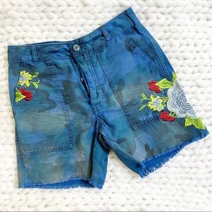 Free People Camo Embroidered Scout Blue Shorts